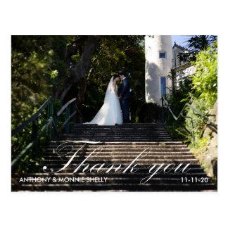 Modern 2 Photo Wedding Thank You Postcard