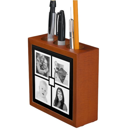 Modern 4 Photo Black and White Desk Organizer