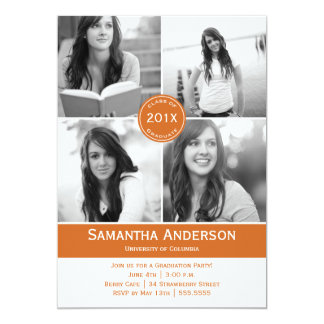 Modern 4 Photo Graduation Invitation - Orange