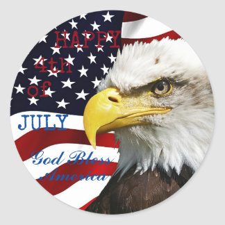 Modern 4th of July US USA Flag American Eagle Classic Round Sticker