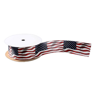 Modern 4th of July US USA Flag Satin Ribbon