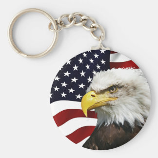 Modern 4th of July USA Flag American Eagle Patriot Keychain
