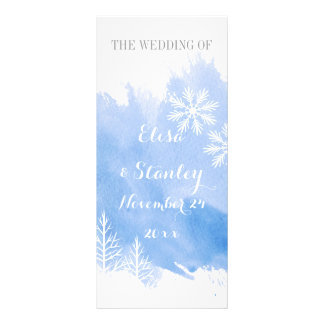 Modern abstrac watercolor blue wedding program