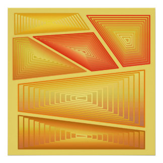 Modern Abstract - 3-d Pyramids, Gold Poster