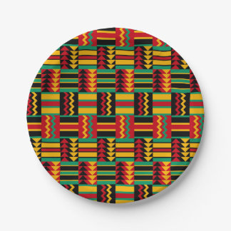 Modern Abstract African Art Pride Red Yellow Green 7 Inch Paper Plate