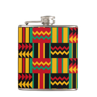Modern Abstract African Art Pride Red Yellow Green Flasks