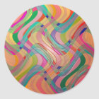 Modern Abstract Art Colourful Stained Glass Look Classic Round Sticker