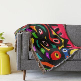Modern Abstract Art Face Throw Blanket