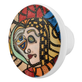 Modern Abstract Art Faces Ceramic Knob
