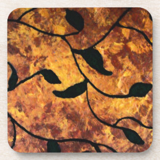 Modern Abstract Autumn Leaf Silhouette Coaster