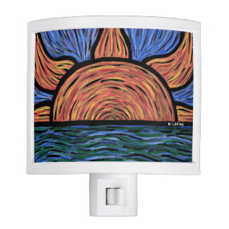 Modern Abstract Beach Sunrise Orange And Blue Night Lite