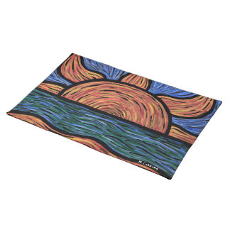 Modern Abstract Beach Sunrise Orange And Blue Placemat