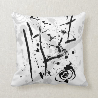 Modern Abstract Black and White Paint Splatter Throw Pillow