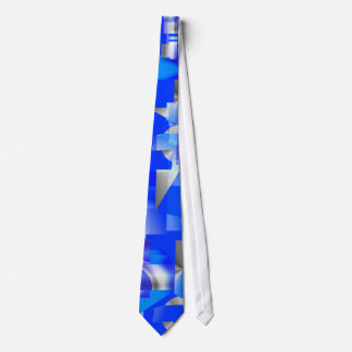 Modern Abstract Blue and Silver Tie