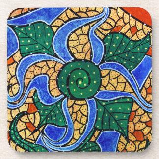 Modern Abstract Blue Flower Coaster