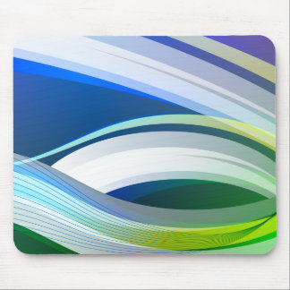 Modern Abstract Blue Green Swirl Swish Design Mouse Pad