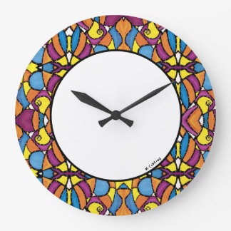 Modern Abstract Bright Colors Large Clock