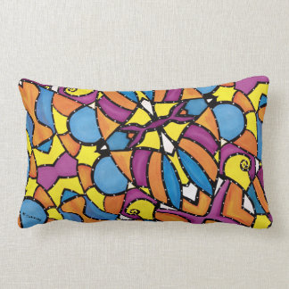 Modern Abstract Colorful Pattern Blue Back Lumbar Pillow