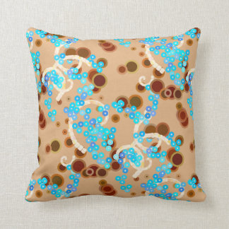 Modern Abstract Confetti Print, Aqua and Brown Throw Pillow