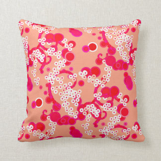 Modern Abstract Confetti Print, Coral and Fuchsia Throw Pillow