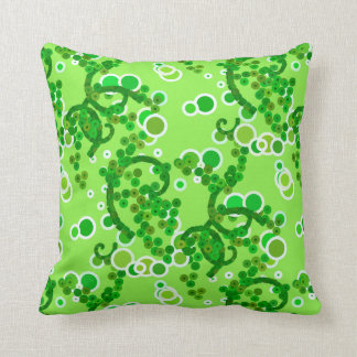 Modern Abstract Confetti Print, Lime Green Throw Pillow