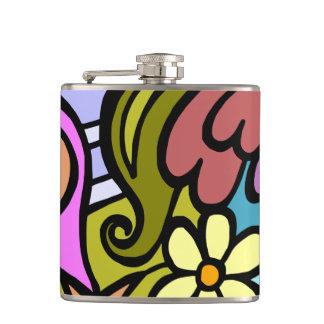Modern Abstract Cubism Art Hip Flask