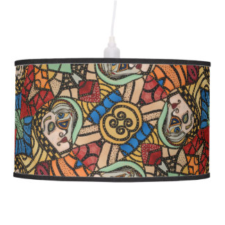 Modern Abstract Faces Pattern Pendant Lamp