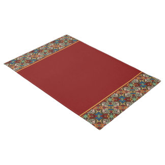 Modern Abstract Faces Pattern With Red Doormat