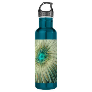 Modern Abstract Fantasy Flower Turquoise Wheat 710 Ml Water Bottle