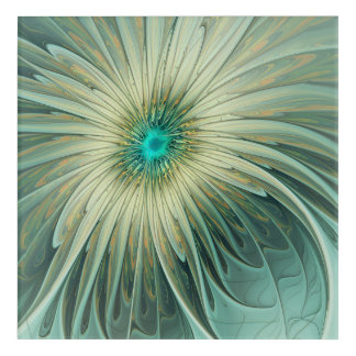 Modern Abstract Fantasy Flower Turquoise Wheat Acrylic Print
