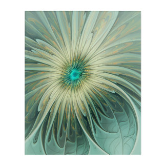 Modern Abstract Fantasy Flower Turquoise Wheat Acrylic Wall Art