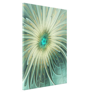 Modern Abstract Fantasy Flower Turquoise Wheat Canvas Print