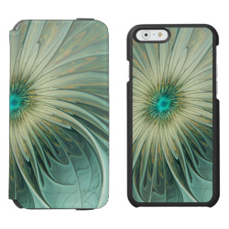 Modern Abstract Fantasy Flower Turquoise Wheat Incipio Watson™ iPhone 6 Wallet Case