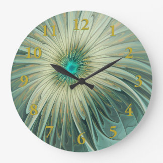 Modern Abstract Fantasy Flower Turquoise Wheat Large Clock