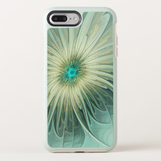 Modern Abstract Fantasy Flower Turquoise Wheat OtterBox Symmetry iPhone 8 Plus/7 Plus Case