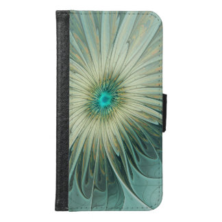 Modern Abstract Fantasy Flower Turquoise Wheat Samsung Galaxy S6 Wallet Case