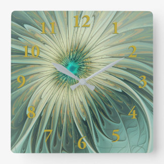 Modern Abstract Fantasy Flower Turquoise Wheat Square Wall Clock