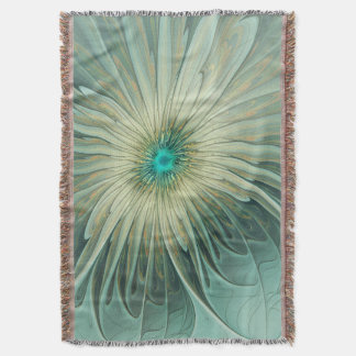 Modern Abstract Fantasy Flower Turquoise Wheat Throw Blanket