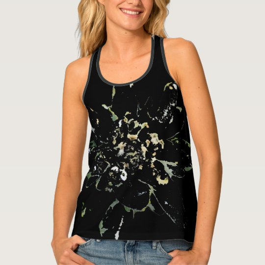 Modern abstract floral edelweiss alpine flower tank top