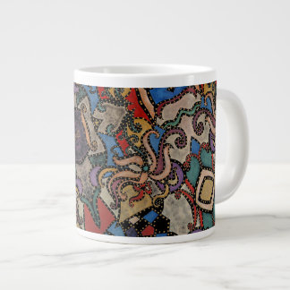 Modern Abstract Floral Pattern Collins Large Coffee Mug