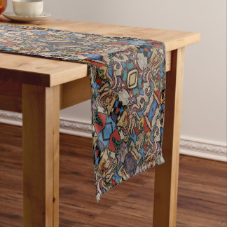 Modern Abstract Floral Pattern Short Table Runner