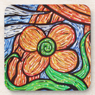 Modern Abstract Flower Bright Colors Coaster