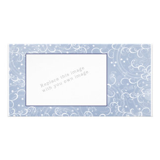 Modern abstract flower design personalized photo card