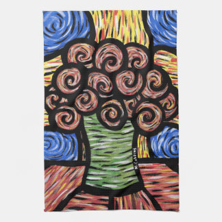 Modern Abstract Flowers In Vase Bright Colors Kitchen Towel