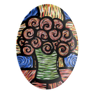 Modern Abstract Flowers In Vase Bright Colors Porcelain Serving Platter