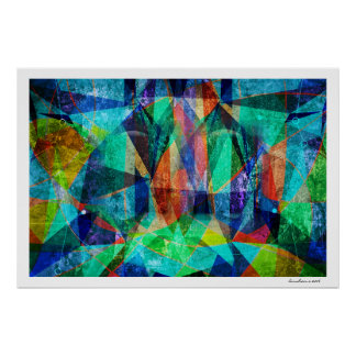 Modern Abstract Geometric Colourful Grungy Art Poster