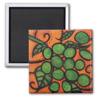 Modern Abstract Grapes Green And Orange Magnet