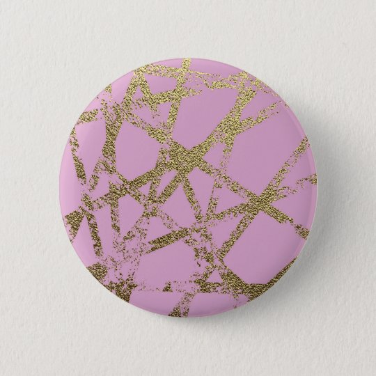 Modern,abstract,hand painted, gold lines pink 2 inch round button