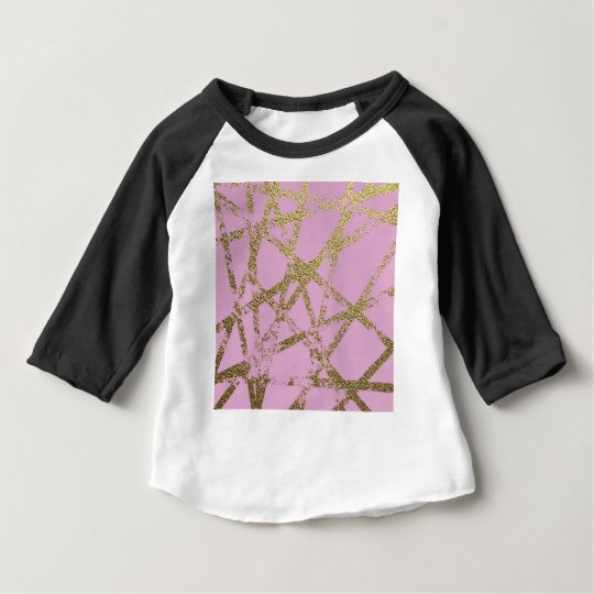 Modern,abstract,hand painted, gold lines pink baby T-Shirt