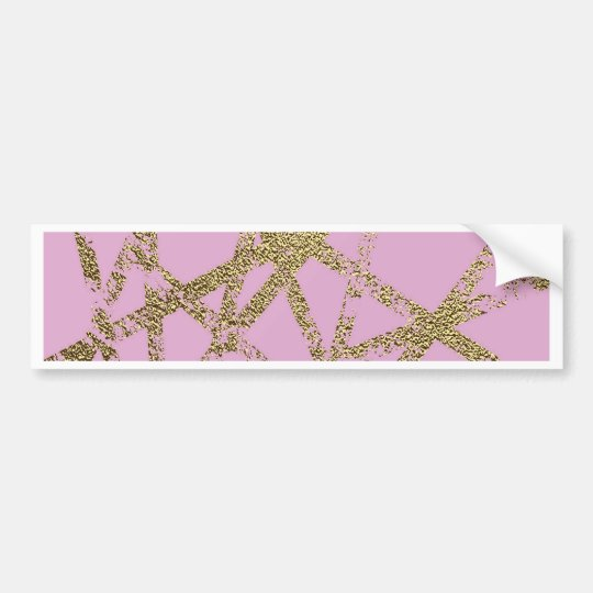 Modern,abstract,hand painted, gold lines pink bumper sticker